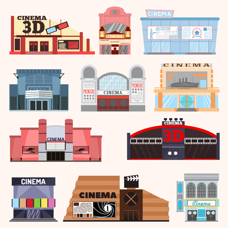 Cinema building vector illustration. Cinema building vector facade movie entertainment city house. Architecture theater exterior cinema building urban film icon theatre town.