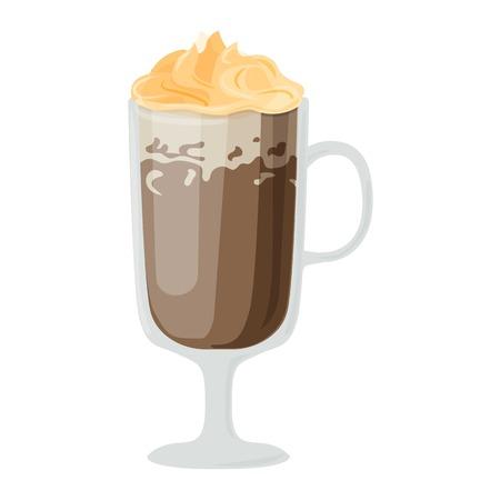 fredo: Tazze di caffè diversi tipi di caffè bevande ghiaccio tazza con prima colazione schiuma bevanda mattina segno vettoriale. tazze di caffè prima colazione e le tazze caffè del mattino. Tazze di caffè con schiuma, diversi caffè di schiuma.
