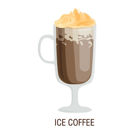 Coffee cups different cafe drinks types ice mug with foam beverage breakfast morning sign vector. Coffee cups breakfast and morning coffee cups. Coffee cups with foam, different foam coffee.