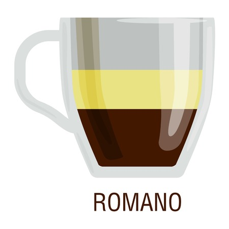 fredo: Coffee cups different cafe drinks types romano mug with foam beverage breakfast morning sign vector. Coffee cups breakfast and morning coffee cups. Coffee cups with foam, different foam coffee. Vettoriali