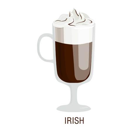 fredo: Coffee cups different cafe drinks types irish mug with foam beverage breakfast morning sign vector. Coffee cups breakfast and morning coffee cups. Coffee cups with foam, different foam coffee.