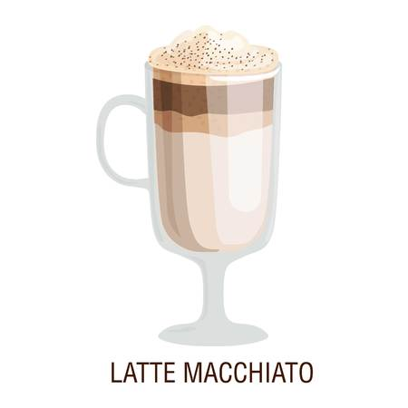 fredo: Coffee cups different cafe drinks types latte macchiato mug with foam beverage breakfast morning sign vector. Coffee cups breakfast and morning coffee cup
