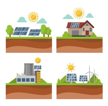 clean energy: Vector sun solar energy icon set. Sun solar energy symbols electricity technology renewable ecology. Industrial clean electrical sun solar energy alternative panel modern innovation generator.
