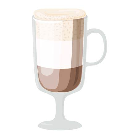 fredo: Coffee cups different cafe drinks types latte mug with foam beverage breakfast morning sign vector. Coffee cups breakfast and morning coffee cups. Coffee cups with foam, different foam coffee. Vettoriali