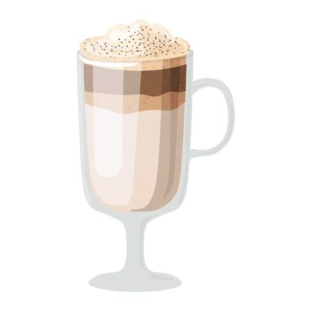 fredo: Coffee cups different cafe drinks types latte macchiato mug with foam beverage breakfast morning sign vector. Coffee cups breakfast and morning coffee cups.