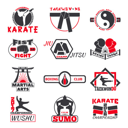Set of vintage boxing emblems, labels, badges, logos and designed fight club logo elements. Fight club logo style sport boxing punch label martial. Vintage fist champion fight club logo. Illustration