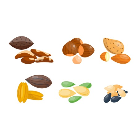 Piles of different nuts pistachio hazelnut almond, walnut, pecans brazil nut pumpkin seeds sesame. Organic collection nutshell group different nuts. Different nuts assortment.