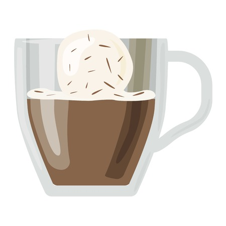 fredo: Coffee cups different cafe drinks types glace mug with foam beverage breakfast morning sign vector. Coffee cups breakfast and morning coffee cups. Coffee cups with foam, different foam coffee. Vettoriali