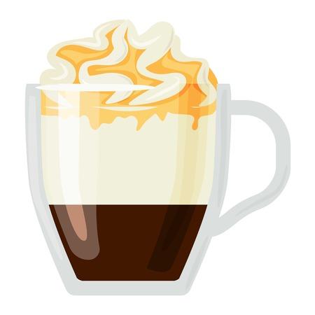 fredo: Tazze di caffè diversi caffè bevande tipi con panna tazza con prima colazione schiuma bevanda segno mattina vettore. tazze di caffè prima colazione e le tazze caffè del mattino. Tazze di caffè con schiuma, diversi caffè di schiuma.