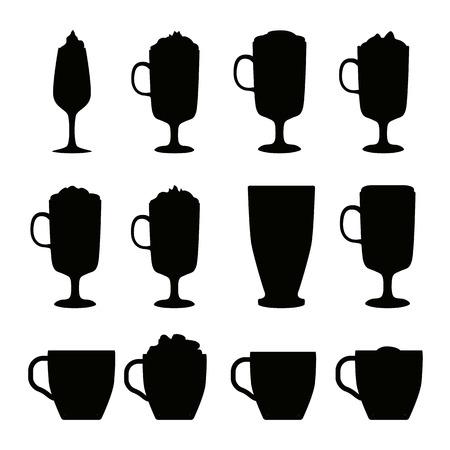 fredo: Coffee cups different cafe drinks types espresso mug with foam beverage breakfast morning sign vector. Coffee cups breakfast and morning coffee cups. Coffee cups with foam, different foam coffee. Vettoriali