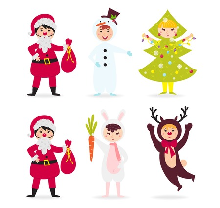 Cute kid wearing Christmas costume vector. Little people isolated cheerful holliday little baby party cloth. Childhood fun cartoon present smiling child.