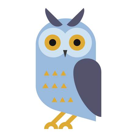 Owl wild bird and nature cartoon owl. Wildlife design cartoon character predator flying animal. Great horned Bubo virginianus subarcticus flat cartoon wild vector.