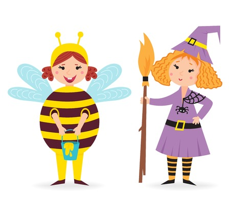 bee party: Cute kid wearing Christmas bee and witch costume vector. Little people isolated cheerful holliday little baby party cloth. Childhood fun cartoon present smiling child.