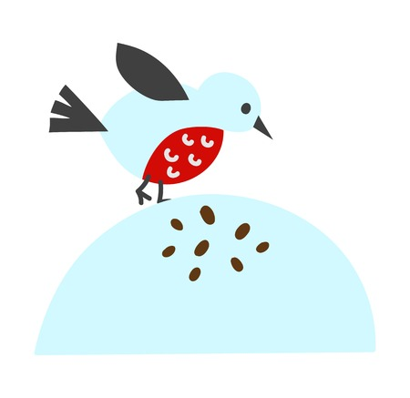 tweet icon: Cartoon flight bird and nature sweet comic winter blue bird. Colorful spring nature little animal eating symbol. Vector character happy flying wing funny icon.