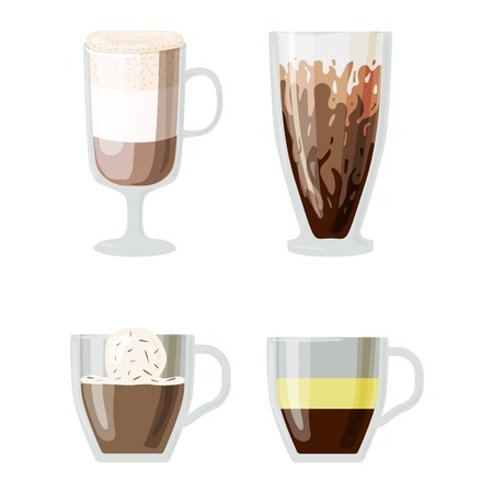 glace: Coffee cups different cafe drinks types espresso mug with foam beverage breakfast morning sign vector. Coffee cups breakfast and morning coffee cups. Coffee cups with foam, different foam coffee. Illustration