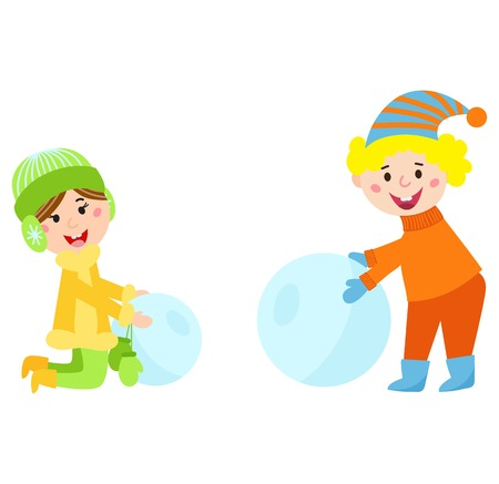 merry chrismas: Christmas kids playing winter games. Girl and little boy makes snow man, children playing snowballs. Cartoon New Year winter holidays vector character.