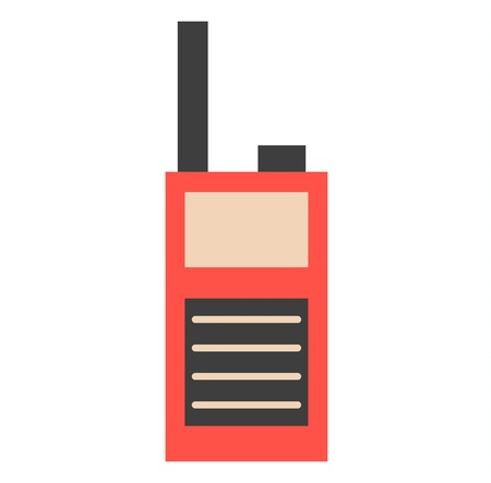 walkie talkie: Portable radio transmitter on white background vector illustration. Security transmitter technology wireless receiver. Safety emergency communication personal walkie talkie. Illustration