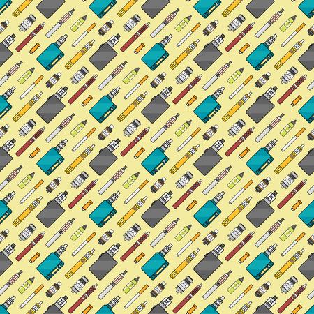 atomizer: Vape device vector set cigarette vaporizer. Vapor juice vape bottle flavor illustration battery coil. vapor trend new culture electronic nicotine liquid. Smoking vaping set atomizer device eliquid.