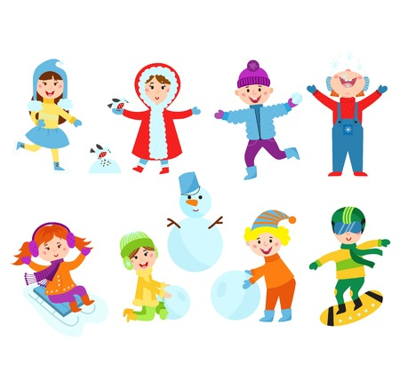 baby playing toy: Christmas kids playing winter games. Skating, skiing, sledding, girl dresses up Christmas tree, boy makes a snow man, children playing snowballs. Cartoon New Year winter holidays background.