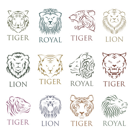 tigress: Team logo with tiger face and wildcat siberian tiger face. Power symbol. Face animal expression. Royal badge extra wild animal logo