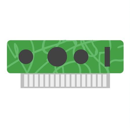 vga: tarjeta de video con tres salidas en el fondo y la tecnología informática tarjeta de vídeo en blanco y equipos. Gráficos procesador digital y de metal microchip electrónico vga semiconductores.