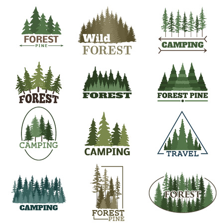 Hand drawn forest logo badge set. Retro collection of outdoor wildlife adventure company. Camping adventure labels. Old style elements green nature vector. Vettoriali
