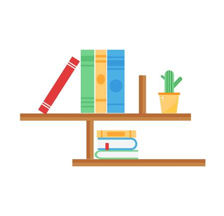 Bookshelf education concept. Books and textbooks.. School library knowledge wall collection. Wall-mounted wooden shelves with books vector illustration in flat style.