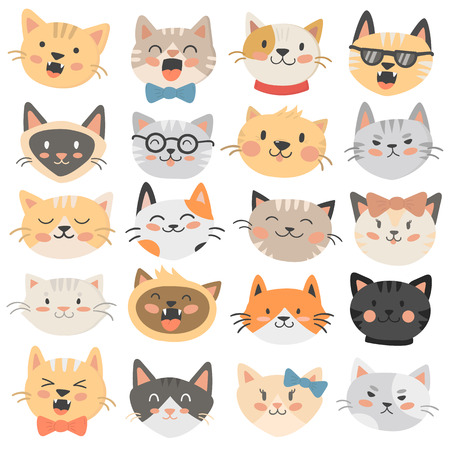 Set of cat emoticons in flat style. Cute kitten emoji in cartoon face. Mammal domestic character isolated on white background. Vector emotion facial kitty smile happy expression.