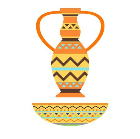 African style decorated color vase isolated over white background. Decoration culture ethnic art tool. Modern decorative ceramic pot tribal ancient crockery illustration. Illustration