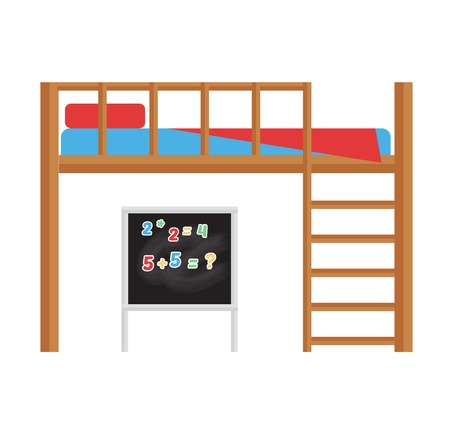 bunk bed: Bunk bed isolated over white background. Kids home interior modern furniture. Child apartment night cute wooden blanket. Bedroom design comfortable childhood decor.