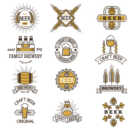 brewery: Vintage craft beer retro design elements, emblems, symbols, vector icons, pub labels, badges collection. Business signs template logo brewery identity concept. Illustration