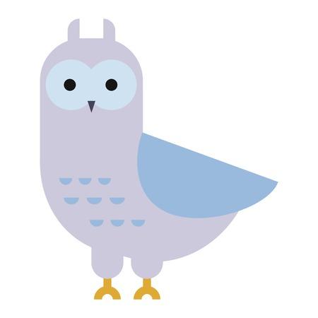 Owl wild bird and nature cartoon owl. Wildlife design cartoon character predator flying animal. Great horned Bubo virginianus subarcticus flat cartoon wild vector.