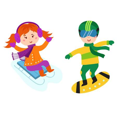 Christmas kids playing winter games. Sledding and snowboarding little party funny holiday. Cartoon New Year winter holidays sport game vector children character.