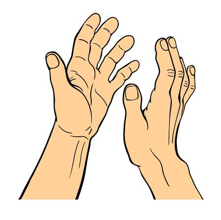 Hands applauding on white background. Victory corporate triumph sign. Human applause group achievement teamwork. Finger expression gesture vector illustration. Illustration