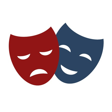 carnival costume: Comedy and tragedy theatrical masks comedy symbol. Vector theater humor performance face. Tragedy drama emotion masquerade carnival costume expression.