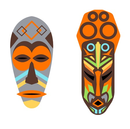 tiki head: Wooden painted african mask isolated over white. Culture tribal collection africa vector ethnic illustration. Religion bushmen design craft avatar souvenir.