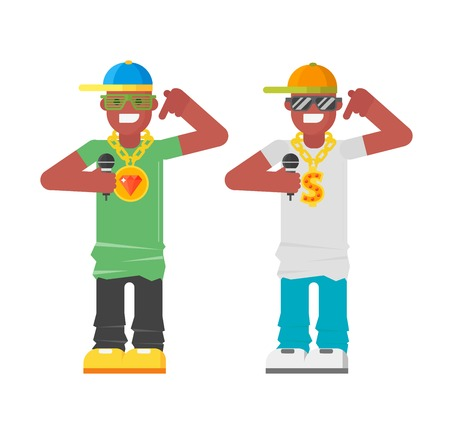 Rapper musician character urban african american hip hop wearing cool cloth. Funny facial dude rap music man fashion guy vector avatar with microphone tool. Illustration
