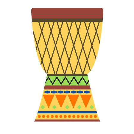 African djembe drum on white background. Music traditional instrument africa drums. Ethnic sound rhythm musical culture tool. Festival tribal folk indigenous equipment bongo.