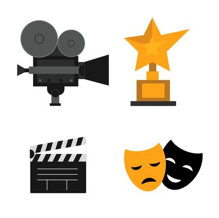 cinematography: Set of vector flat design concept illustrations with icons of movie making. Cinematography reel camera production vector. Hollywood success celebrity best icon festival prize.