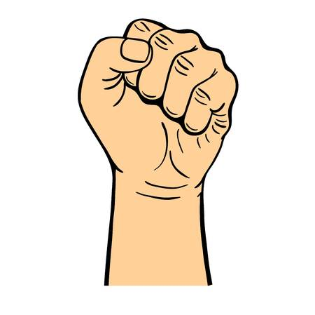 uprising: Human hand with fist making communism symbol isolated on white background. Angry palm revolution strength concept. Strong gesture strike person gesturing vector.