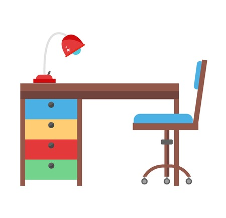 learning by doing: Young school kid studying home desk. Doing homework kids workplace with lamp. Flat style color chair and learning modern table vector illustration.