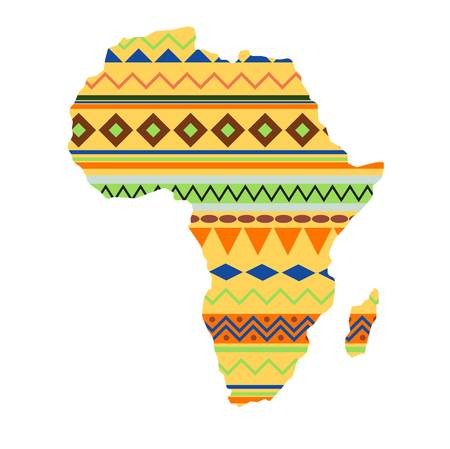 Diversity colors tribal ethnic bands Africa over white background. Textured vector map continent international travel geography illustration. World design cartography symbol.