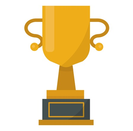 Gold cup trophy vector illustration. Gold cup achievement success golden award and champion object. Metal best shiny prize cup. Trophy victory achievement.