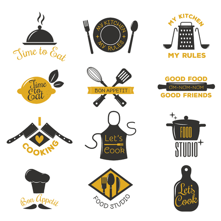Bakkerij winkel logo's, badges en labels design elements set. Brood cake cafe vintage stijl objecten retro vector. Koken logo badge winkel restaurant stamp. Kokend embleem badge typografie. Stock Illustratie