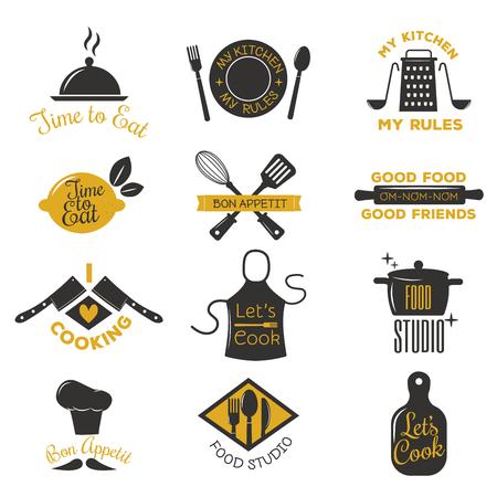 logotipos panadería, insignias y elementos de etiquetas de diseño establecidas. estilo de la vendimia pan pastel de café vector de los objetos retro. Cocinar insignia del logotipo sello restaurante tienda. Cocinar insignia del logotipo de la tipografía. Logos