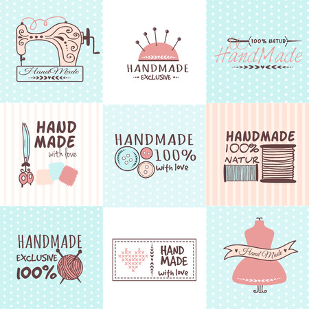 Set of vintage retro handmade needlework badges, labels and logo elements, retro symbols for local sewing shop, knit club artist or fashion tailoring. Template logo vector.