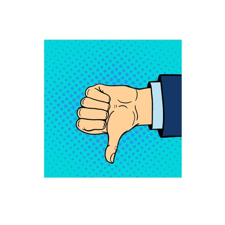 Dislike hand symbol. Human hand shows thumb down isolated on white background. Negative emotion concept. Communication vote finger gesturing. Illustration