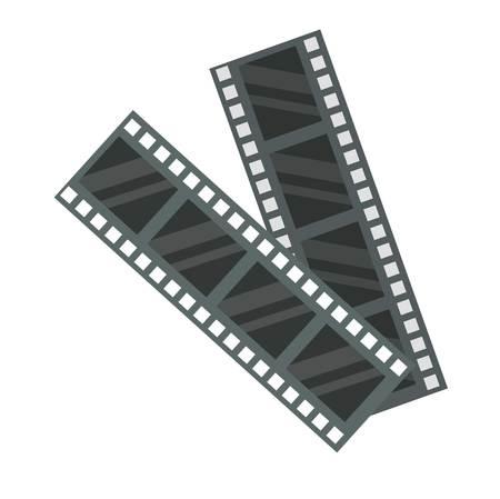 cinematography: Film strip icon photography vector illustration. Camera photo negative modern exposure cinematography vintage reel. Media entertainment blank tape empty roll.