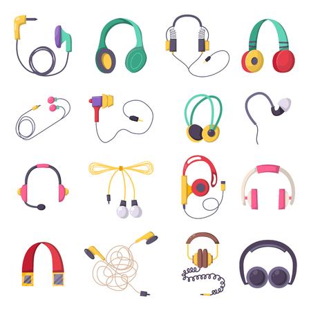portable audio: Vector colorful headphone icons set on white background. Volume earphone gadget device entertainment. Audio speaker accessory digital portable tool.