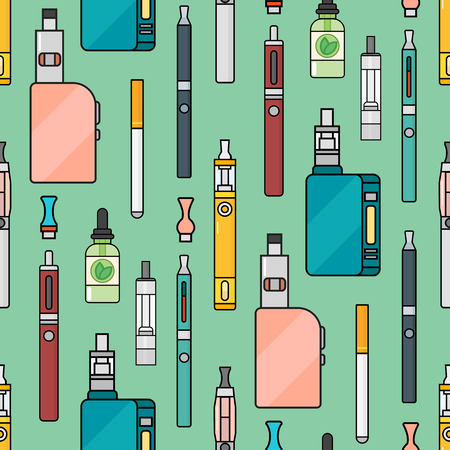 Vector seamless pattern of vape. Endless background electronic cigarette. E-cigarette store wrapping paper or poster design. Portable mod shop smoke device. Stock Illustratie